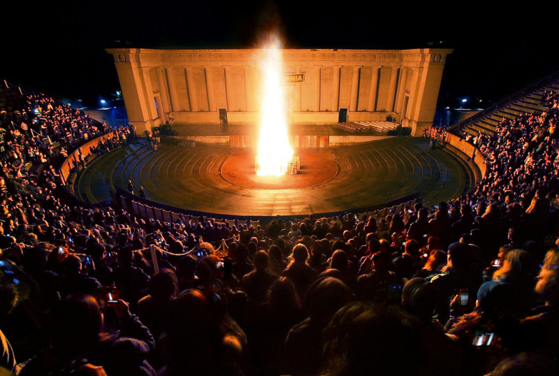 Greek Theatre bonfire