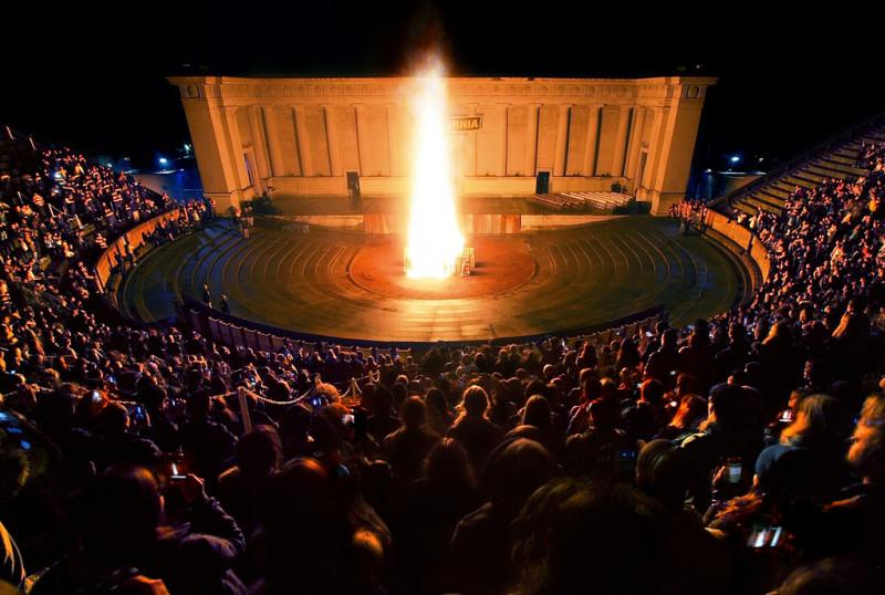 Greek Theatre bonfire
