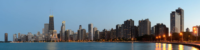 Chicago dusk skyline