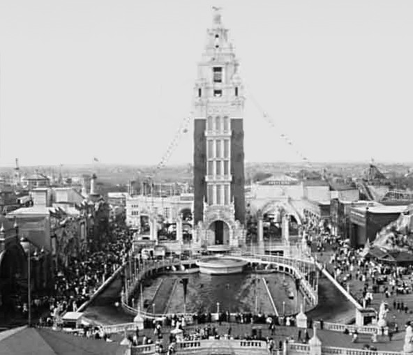 The lagoon and tower at Dreamland Park, Coney Island, Brooklyn, New York, 1907. View looing northerly
